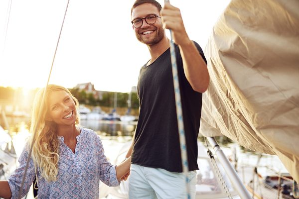 Couple Bought A Boat, Smiling At Camera, Wealthy Couple